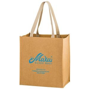 TSUNAMI - Washable Kraft Paper Grocery Tote Bag w/ Web Handle (12