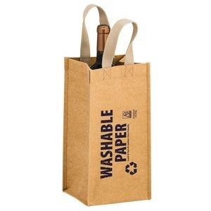 TORNADO - Washable Kraft Paper 1 Bottle Wine Tote Bag w/ Web Handle (6